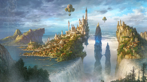 Castle City Hot Air Balloon Waterfall 1920x1084 Wallpaper