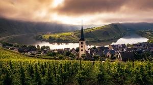 Church Germany River Vineyard 3840x2160 wallpaper