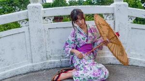 Asian Model Women Long Hair Dark Hair Women Outdoors Japanese Kimono Women With Umbrella Japanese Um 1920x1280 Wallpaper