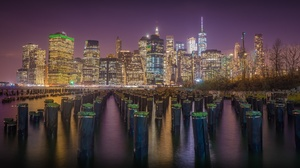 Building City Manhattan New York Night Skyscraper Usa 2048x1186 Wallpaper
