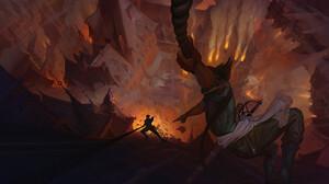 Igor Artyomenko Adventurers Fantasy Art Artwork Fantasy City ArtStation Fire Cityscape Burning Fanta 3500x2049 Wallpaper