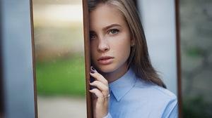 Women Portrait Blonde Blue Eyes Freckles Open Mouth Black Nails Blue Shirt Looking At Viewer Sergey  1920x1200 Wallpaper