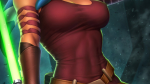 Ahsoka Tano Star Wars Fictional Character Women Looking At Viewer Blue Eyes Low Angle Portrait Displ 2400x3597 Wallpaper