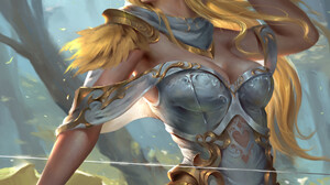 Artwork Fantasy Art Fantasy Girl Women Elves Elf Ears Blonde Glowing Eyes Bow Armor 1920x2415 Wallpaper