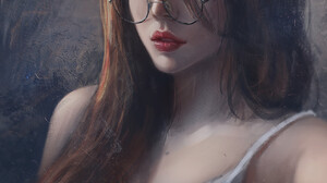 Artwork Women Redhead Blue Eyes Glasses Women With Glasses Long Hair 1325x1613 Wallpaper