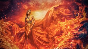 Artistic Fire Flame Girl Gown Orange Dress Woman Orange Color 2048x1376 Wallpaper