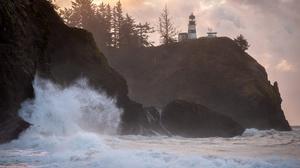 USA Washington Lighthouse Trees Shore Sea Clouds Sky Landscape Nature 1920x1258 Wallpaper