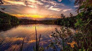 Lake Nature Reflection Sky Sunset 2048x1365 Wallpaper