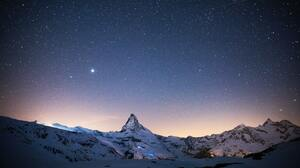 Landscape Nature Mountains Starry Night Snow 3000x2000 Wallpaper