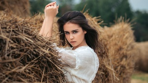 Black Hair Blue Eyes Girl Haystack Model Woman 2560x1707 Wallpaper
