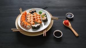 Still Life Fish Rice Seafood 5700x3097 Wallpaper
