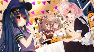Anime Anime Girls Borumete Artwork Halloween Animal Ears Maid Outfit Police Costume Food 3500x1969 Wallpaper