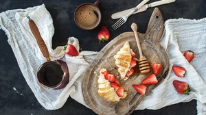 Berry Breakfast Coffee Croissant Cup Still Life Strawberry 3200x2231 Wallpaper