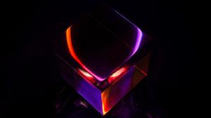 Predator Creature Helmet Crystal Abstract Red Orange Purple Eyes 7952x5304 Wallpaper