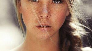 Women Model Brunette Long Hair Portrait Display Face Karen Abramyan Freckles Bare Shoulders Braids B 1240x1800 Wallpaper