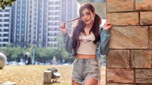 Asian Model Women Dark Hair Long Hair Short Tops Jeans Jacket Jeans Shorts Twintails Depth Of Field  1920x1280 Wallpaper