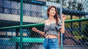 Asian Model Women Long Hair Brunette Depth Of Field Jeans Short Tops Fence Building 2376x1584 Wallpaper