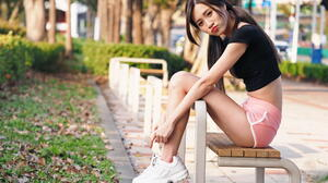 Asian Model Women Long Hair Dark Hair Sitting Backwards Sneakers Black Tops Ponytail Bushes Trees Gr 1920x1280 Wallpaper