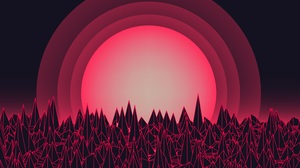 Retro Style Synthwave Artwork Digital Art Synth Red Abstract 2484x1611 Wallpaper