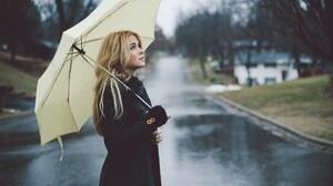 Women Blonde Rain Umbrella Street Long Hair Black Coat Coats Model Blue Eyes Women Outdoors Women Wi 2560x1600 Wallpaper