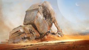 Star Wars Robot Planet Desert AT AT Walker 3000x1687 Wallpaper