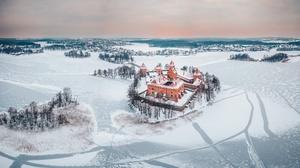 Castle Landscape Winter Horizon Lithuania 2048x1216 Wallpaper
