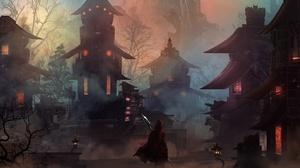 Building Oriental Spear Town Warrior 6600x3600 wallpaper