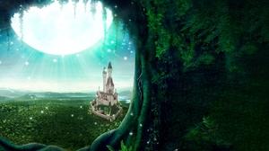 Castle Fantasy Green Meadow Portal Window 6000x3000 Wallpaper