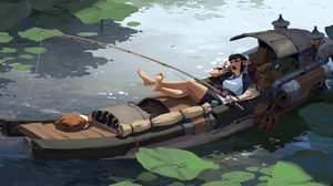 Original Characters Fantasy Girl Kan Liu ArtStation Fantasy Art Vehicle Fishing Rod Barefoot Legs Po 2849x1280 Wallpaper