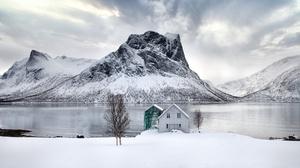 Boathouse Mountain Norway Winter 2048x1365 Wallpaper