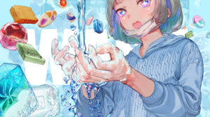 Anime Anime Girls Water Soap Mask Blonde Short Hair Open Mouth Candy Bubble Baths Washing 1637x1158 Wallpaper