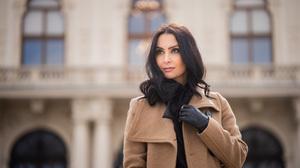 Black Hair Brown Eyes Coat Depth Of Field Girl Woman 3840x2560 Wallpaper