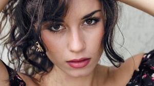 Stare Lipstick Face Brown Eyes Black Hair 2800x1866 Wallpaper