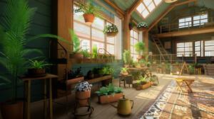 Jaume Rovira Llorca Digital Art Flowerpot Sun Rays Rug Window Flowers Ladder 2915x1640 Wallpaper