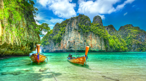 Boat Cliff Thailand Vehicle 2048x1266 Wallpaper