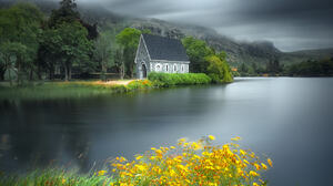 Marius Kasteckas Landscape Sky Overcast Trees House Water Lake Flowers Grass 1300x1300 Wallpaper