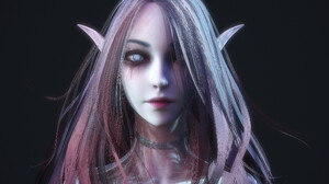 3D Render CGi Pointy Ears Fantasy Art Simple Background Fantasy Girl Face Portrait Long Hair Women 3800x2800 Wallpaper