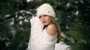 Model Women Blonde Blue Eyes Mouth Lips Lipstick Sweater Hoods Bare Shoulders Trees Winter Jacket To 1920x1282 Wallpaper
