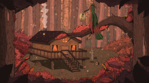 Cabin Guitar Forest Birds Chimneys Log Jim Spendlove 3840x2160 Wallpaper