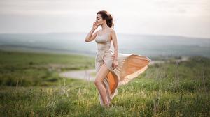Aleksey Yuriev Women Brunette Dress Brown Clothing Wind Barefoot Nature Field Grass 2037x1146 Wallpaper