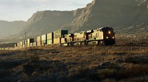 Marcel Haladej Train Vehicle Freight Train Digital Art ArtStation Landscape Diesel Locomotive 2560x1066 Wallpaper