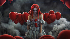 Evgenij Kungur Clown Clowns Looking At Viewer Smoke Background Dress Balloon Bare Shoulders Frontal  1920x929 Wallpaper
