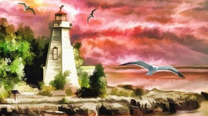 Coast Lighthouse Ocean Seagull Sunset 1920x1536 wallpaper