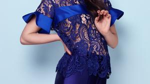 Anya Taylor Joy Women Actress Brunette Studio Simple Background Blue Background Long Hair 1174x1587 Wallpaper