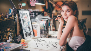 Asian Women Model Women Indoors Looking At Viewer Tongues Tongue Out Brunette Calligraphy Bare Shoul 2048x1366 Wallpaper