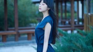 Asian Dress Outdoors Long Hair Black Hair Blue Dress Women Shika XiaoLu 4032x3024 wallpaper