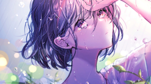 Anime Anime Girls Rain Crying Short Hair Purple Eyes Looking Away Dark Hair Water Drops Chigiri Kure 1748x1240 Wallpaper