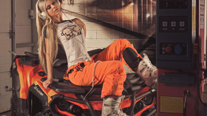 Quad ATVs Boots White Boots Closed Eyes White Tops Pants Open Mouth Headphones Sitting Women Photogr 2042x1280 Wallpaper