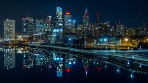 Philadelphia Cityscape City River Bridge Reflection 3840x2160 wallpaper