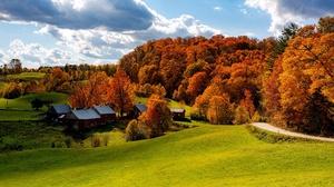 Cloud Fall Field Forest House Road Sky Sun Usa Vermont 2048x1367 Wallpaper
